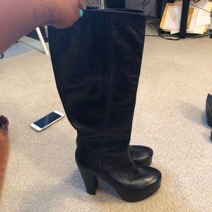 Nine West Shoes - Ninewest leather black platform knee boots 8